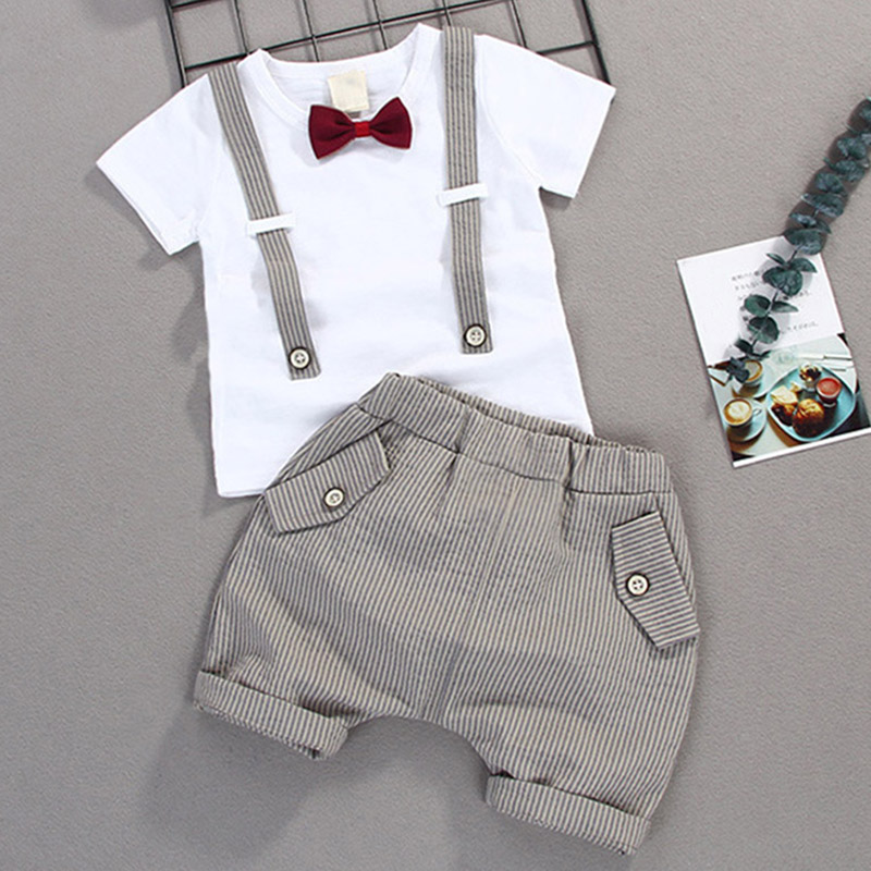 Outfit Shorts Gentleman-Set Two-Piece-Set Baby-Boy Striped Summer Straps Bowtie New