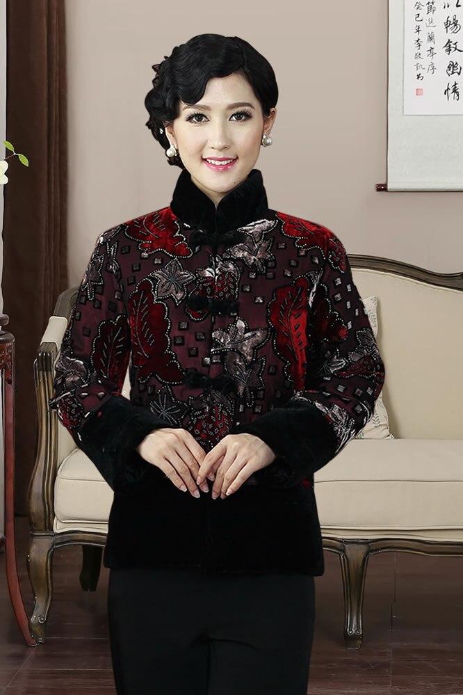 Manteau d'hiver en Satin traditionnel chinois pour femme taille: M à 4XL