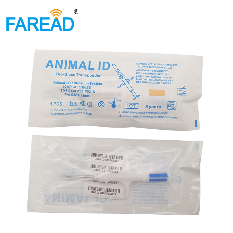X100pcs Pet Microchip 134.2Khz ISO11784/785 FDX-B 2.12*12mm RFID Injector Animal Syringe With Glass Tags Anti-migration