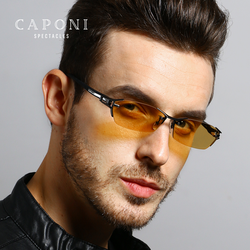 CAPONI Pure Titanium Sunglasses Polarized Photochromic Day Night Vision Sun Glass Men For Driving Fishing Eyewear UV400 BSYS1141 image