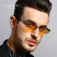 Caponi Pure Titanium Polarized Photochromic Driving Sunglasses For Day Night Mens Brand Sunglass 1141