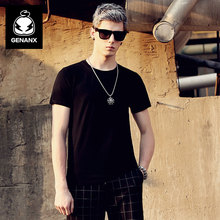 GENANX Brand Black Round Collar Art Van Render Unlined Upper Garment Contracted Pure Color Short Sleeve T-Shirt Young Men