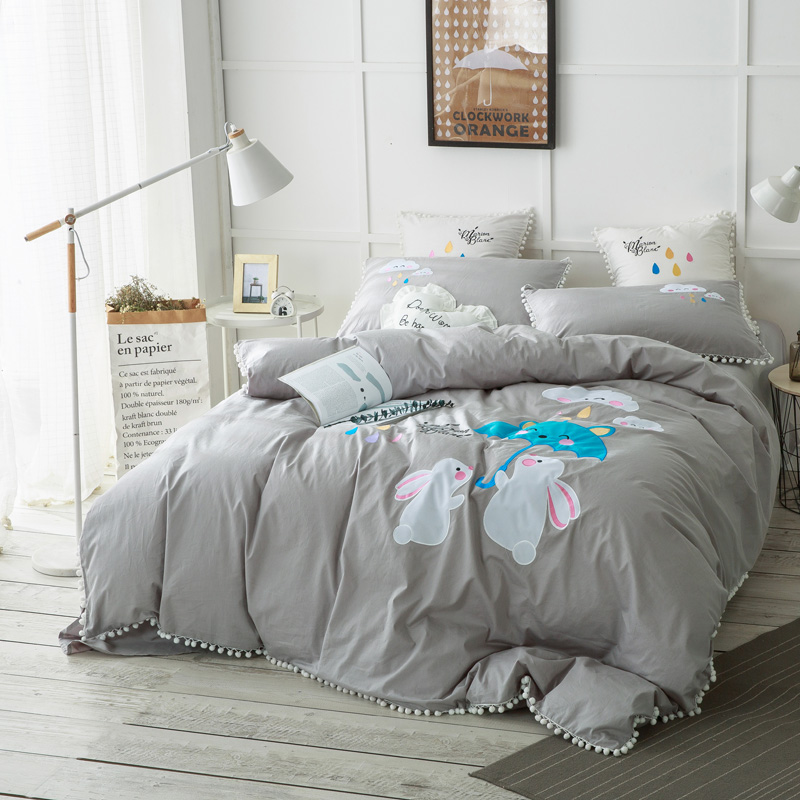 Grey Green 100% Cotton Cartoon Patch Cute Bedding Set Queen King size Duvet cover Bed sheet set for Christmas Soft Bedclothes 38Grey Green 100% Cotton Cartoon Patch Cute Bedding Set Queen King size Duvet cover Bed sheet set for Christmas Soft Bedclothes 38