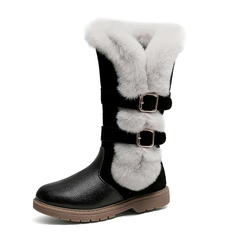 2017 Winter New Kids Girls Knee High Genuine Leather Boots Thicken Plush Warm Snow Boots Flat Children Shoes babyfeet 2017 winter fashion warm plush high top genuine cow leather children ankle girls snow boots kids boys shoes sneakers