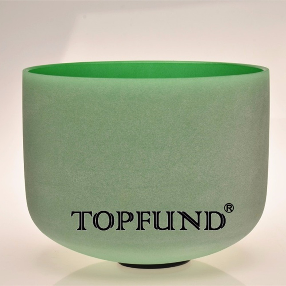 TOPFUND Green Color F Heart Chakra Frosted Quartz Crystal Singing Bowl 8 inch With Free Mallet and O-Ring  rainbow frosted f heart chakra quartz crystal singing bowl 8 with free mallet and o ring