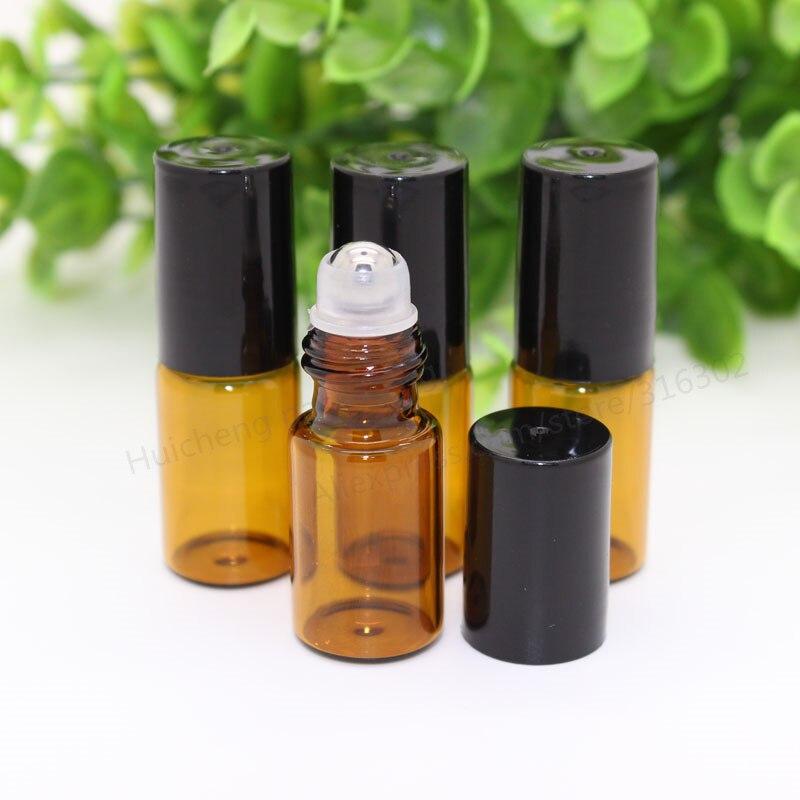 300 unids 3 ml roll on roller botellas de aceites esenciales botella de perfume