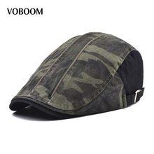 03440e2a1c4ed VOBOOM Boina de algodón de los hombres camuflaje gorra plana de las mujeres  taxista sombrero Primavera Verano hombre vendedor Bo.