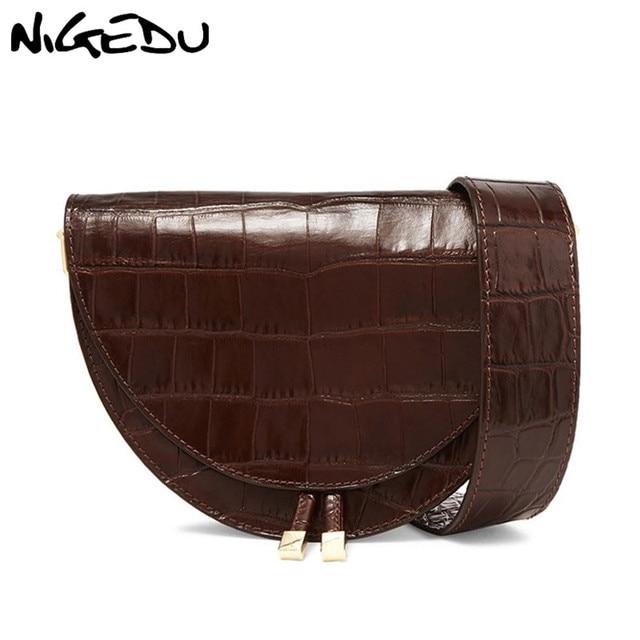 68f2caae US $20.76 40% OFF NIGEDU Women Crossbody Bag Fashion Crocodile Semicircle  Saddle Bags PU Leather Shoulder Bags for female Handbags designer bolsas-in  ...