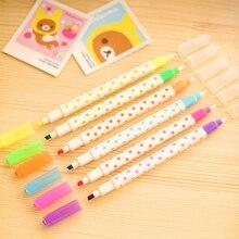 6 ручек/лот 6-Цвет цветные чернила Комплект из двух наконечником для нанесения хайлайтера, YGB00006