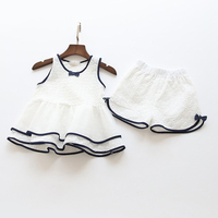 2017 Summer Brand Kids Clothes Sweet Children Clothing Set Hollow Lace Design Vest Shorts 2pcs Baby