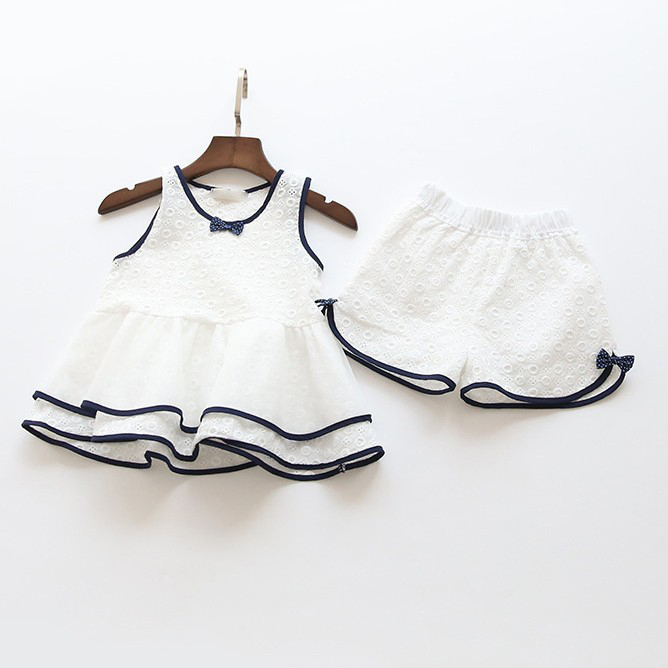 2017 Summer Brand Kids Clothes Sweet Children Clothing Set Hollow lace Design Vest+Shorts 2pcs Baby Girls Suits infant Outfit girls tshirt brand hollow sleeveless o neck baby girl shorts solid elastic waist 2 pieces kids clothes girls 2792w