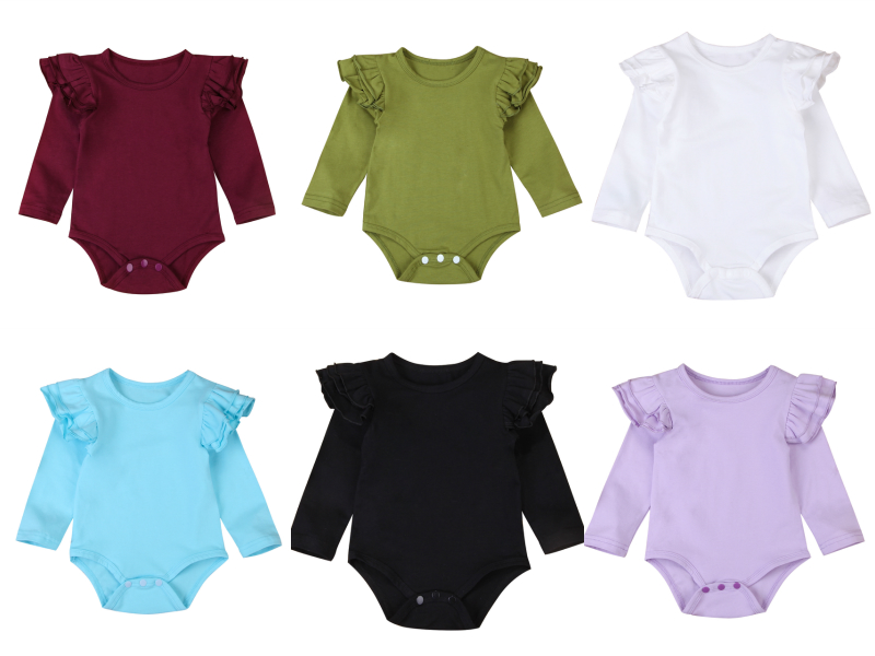 Infant Baby Girls Solid Ruffles Cotton Romper Long Sleeve Outfits Jumpsuit Clothes Innrech Market.com