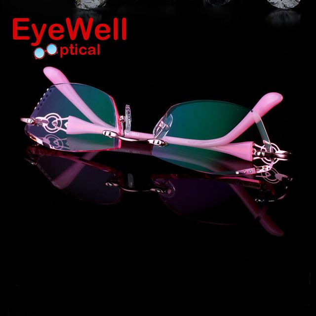Lindo Corte de Diamante Óculos Sem Aro para Mulheres Bonito Mais Popular Frame Ótico e as Lentes para a Moda Senhora 7102