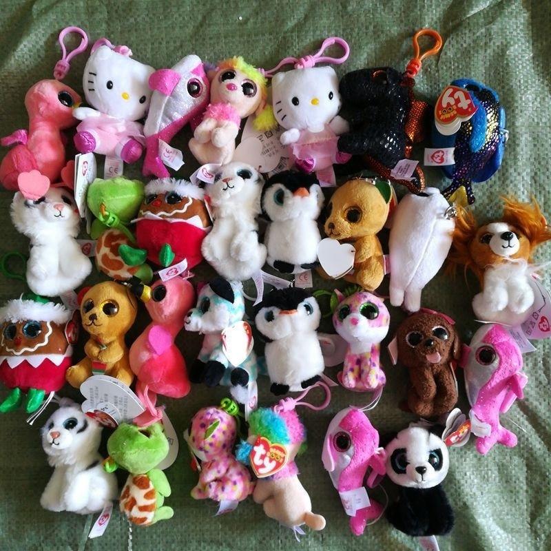 Skyleshine 50PCS/Lot 15CM Mini Big Eyes Keychain Plush Stuffed Toys Big Eyes TSUM Animals Doll S870