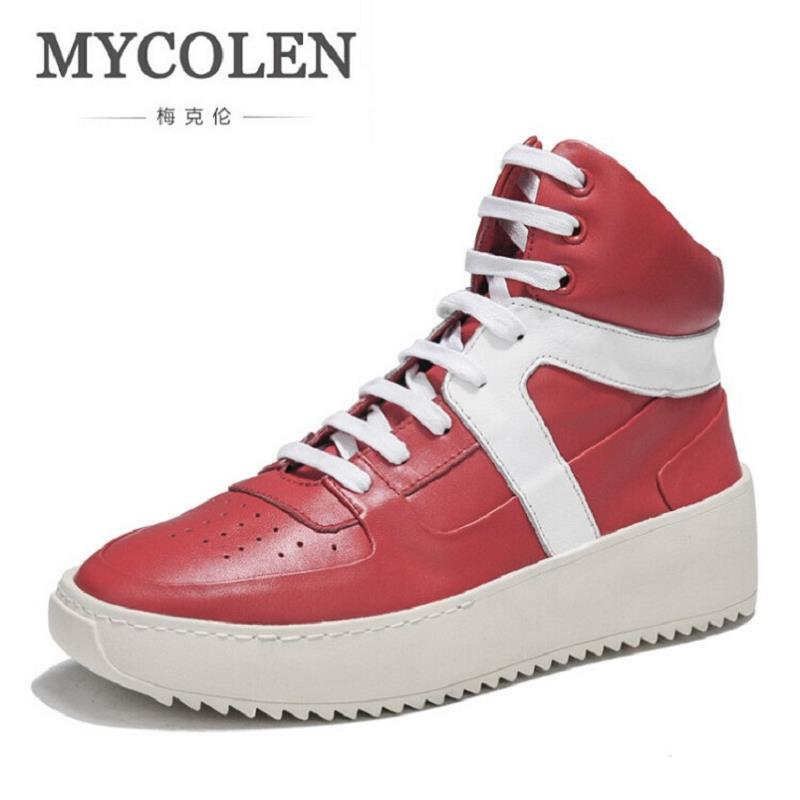 MYCOLEN New Fashion High Top Casual Shoes For Men Leather Lace Up Red White Mixed Color Mens Casual Shoes chaussure homme cuir gram epos men casual shoes top quality men high top shoes fashion breathable hip hop shoes men red black white chaussure hommre