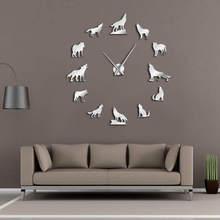 Воющий волк DIY большие настенные часы различных волк поза бескаркасных настенные часы домашний Декор современный дизайн восхищен