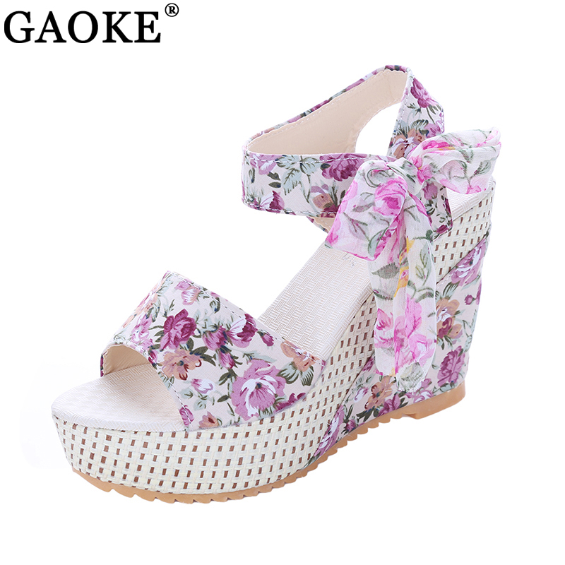 Fashion Women Sandals Summer Wedges Women's Sandals Platform Lace Belt Bow Flip Flops open toe high-heeled Women shoes Female купить в Москве 2019