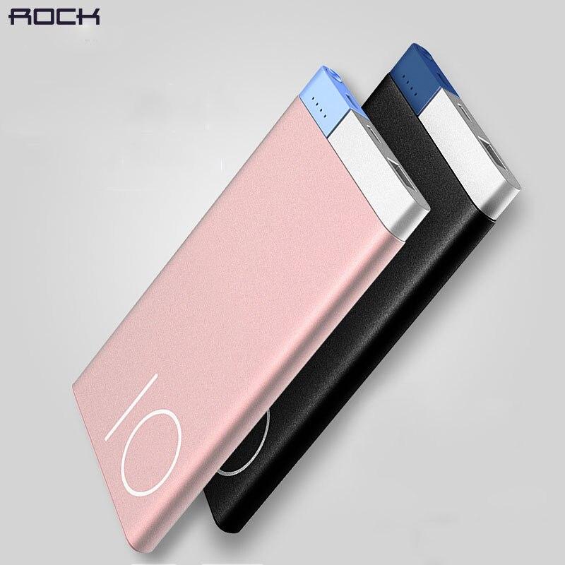 imágenes para Rock Polímero Banco de la Energía 10000 mah Ultra Delgado Cargador de Copia de seguridad Batería de Metal Negro de Oro Rosa de Oro