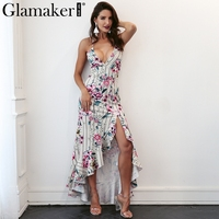 Glamaker Flower Print Summer Dress Women Split Ruffle Maxi Beach Dress Lace Up Backless Sexy Evening