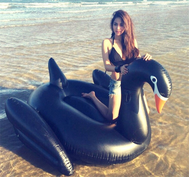 все цены на Free By DHL/UPS 190*190*130cm Giant Inflatable black swan Pool Float row Ride-On Swimming Ring Water Party Toys swimming laps