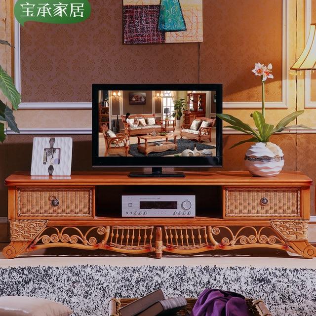 Asie du sud, Indonésie importé canne en rotin bois meuble TV TV en ...