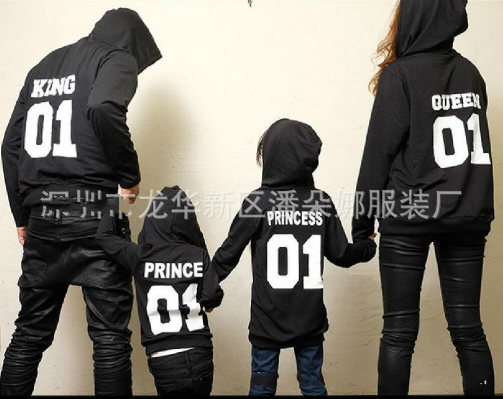 Autumn Winter Mother Father Daughter Son Sweatshirts Family Matching King Queen Princess Print Hoodies Family Clothes Suits ...