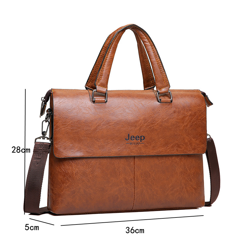 Image 2 - JEEP BULUO Mens Briefcase Fashion Handbags For Man Sacoche Homme  Marque Male leather Bag For A4 Documents 13 Laptop 6015Briefcases