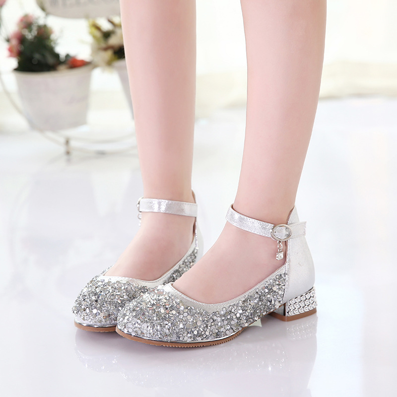 Girls Shoes Glitter Leather Sneaker 2019 Spring Kids Princess Dance Party Shoes Little Girls Flats Wedding Children Shoes in Leather Shoes from Mother Kids