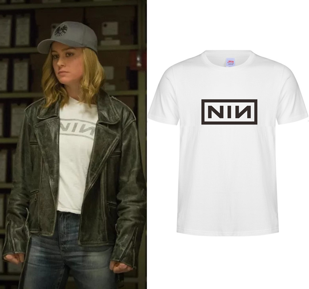 Captain Marvel Carol Danvers Film Gaya Yang Sama Nin Nine Inch Nails Sweater O Leher Lengan Pendek T Shirt Cosplay Kostum Wanita Di Dari