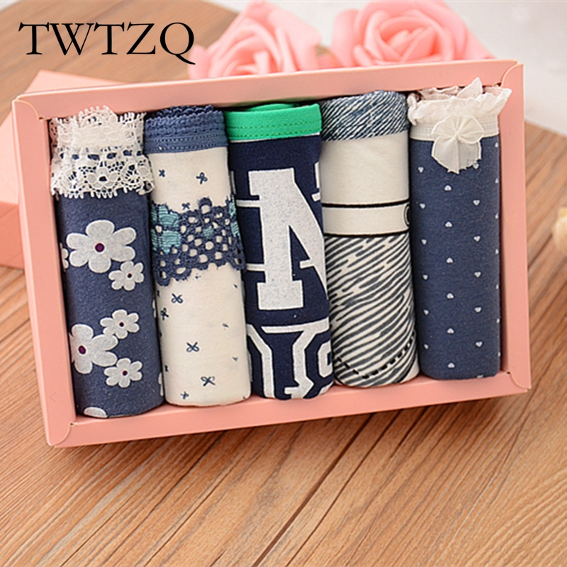 TWTZQ 5Pcs/Lot Hot Sell Sexy Female Underwear Women's Cotton Pocket Panties Floral Underpants Girls Knickers Panty Briefs 3LH016