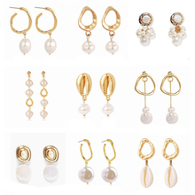 Vintage Pearl Pendant Dangle Earrings For Women Gold Color Geometric Irregular Shell Drop Earring Wedding Party Jewelry цена и фото