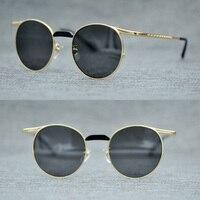 76d271bf7 Fashion Retro Gothic Steampunk Mirror Sunglasses Men Women Gold Black Round  Driving Sun Glasses For Men