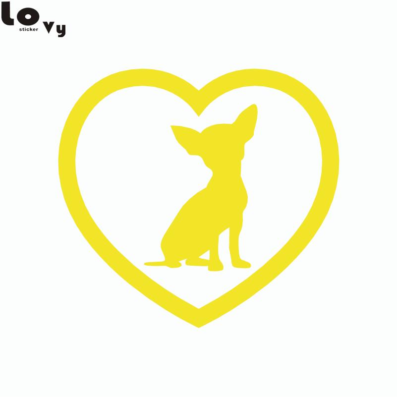 2st Söt Chihuahua Heart Dog Car Sticker Tecknad djurfönster - Exteriör biltillbehör - Foto 5