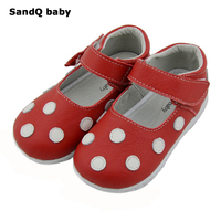 Children Genuine Leather Shoes For Kids Polka Dot Girls Dress Shoes Lovely Red White Dancing Shoes