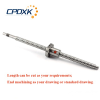 CNC ball screw set: 1605 ball screw with BK12/BF12 end machining 1550mm 1pc + single ball nut SFU1605 1pc
