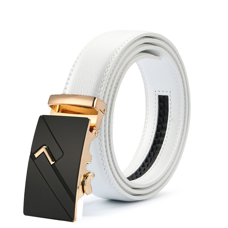 New Mens Fashion Automatic Buckle Leather Luxury Man cinturones hombre Black white   Belt   Alloy buckle White   belt   for Men