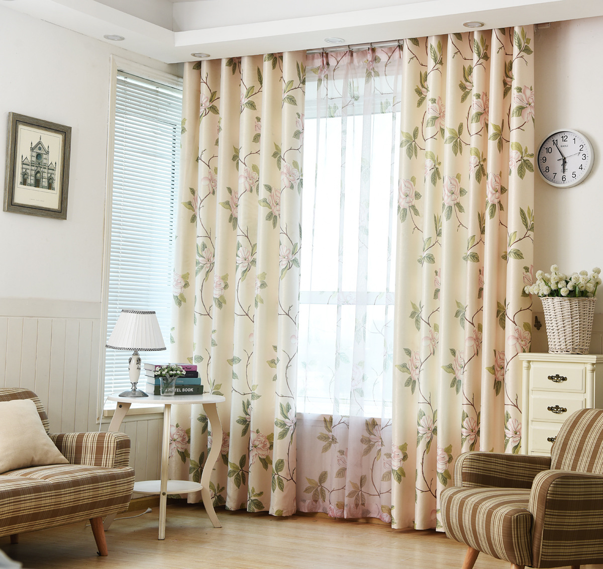 Dining room country curtains - American Style Country Style Cloth Suede Print White Silk Fresh Shade Curtains For Living Dining Room Bedroom