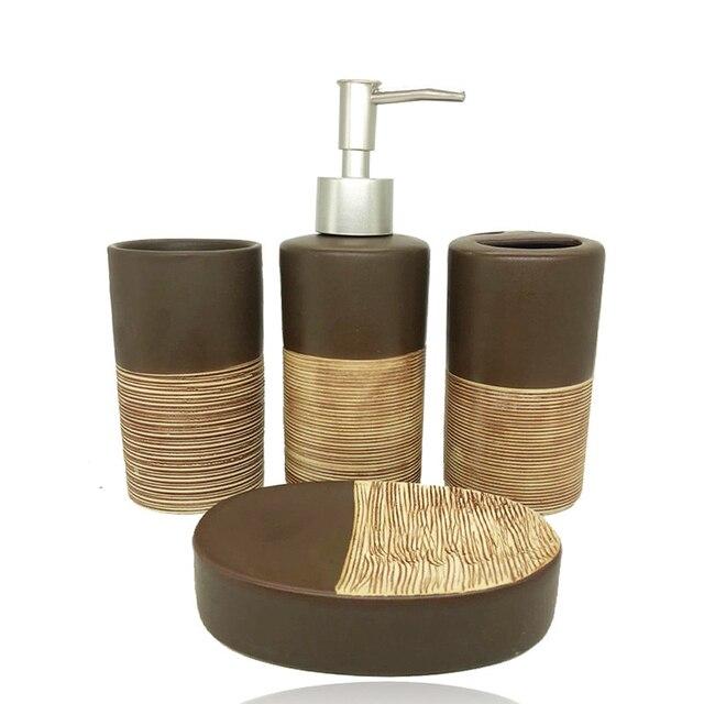 4 pcs cor de chocolate acessórios do banheiro high-end casa de banho de cerâmica produtos de higiene pessoal garrafa loção caixa de sabão copo escova de dentes titular conjunto