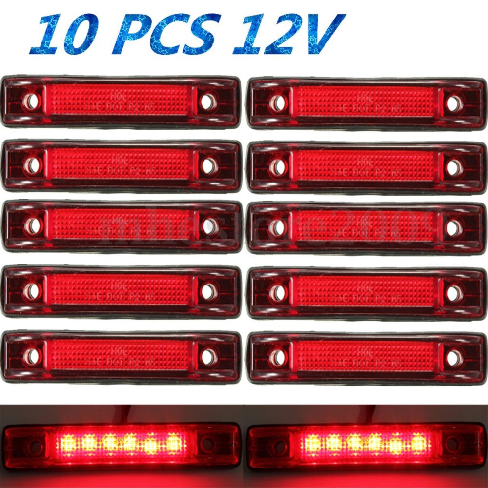 CYAN SOIL BAY 10pcs 6 LED Clearance Side Marker Indicator Light Lamp Truck Trailer 12V Red long–term secrets to short–term trading