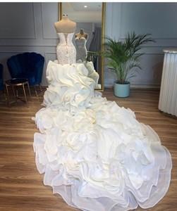 Image 3 - Casamento 2019 Sparkle Crystal Mermaid Wedding Dresses Lush Bottom Ruffles Bridal Gowns Sweetheart Lace Up Vestido De Noiva