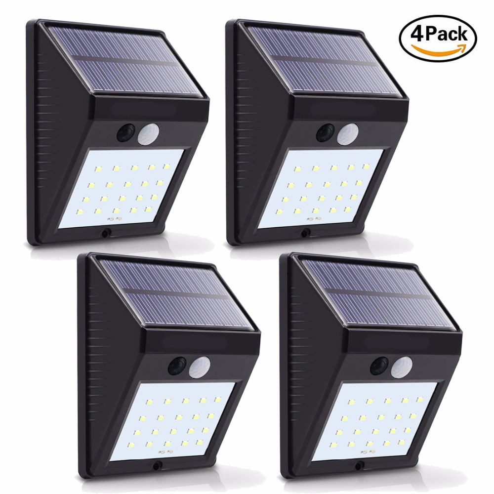 4 pacote led luzes solares 20 leds night security sensor de movimento luz a prova dwaterproof