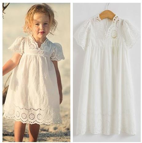 2018 New Summer  Baby Boy Girl White Cotton Dress Lace Dress Casual Princess Dress Cotton V Baby Girl Clothes