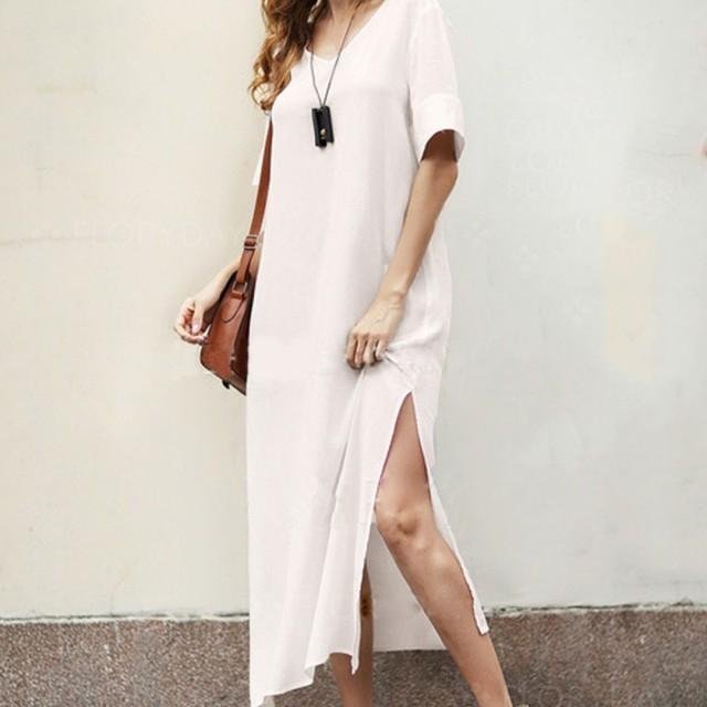ca2fdea42ae Summer Maxi Dress Short Sleeve Casual Mini T-shirt Dress 2018 Cotton and  Linen V-neck Split Long Dress Solid White Vestidos W4