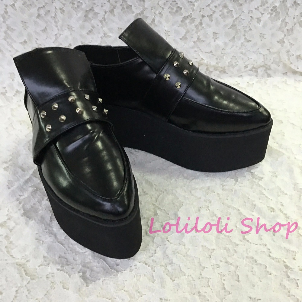 Princess sweet gothic lolita shoes Lolilloliyoyo antaina Japanese design custom black pointed toe flat shoes with rivets 1399n sweet women s flat shoes with pointed toe and two piece design