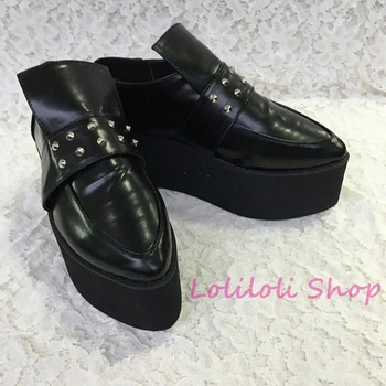 Princess sweet gothic lolita shoes Lolilloliyoyo antaina Japanese design custom black pointed toe flat shoes with rivets 1399n