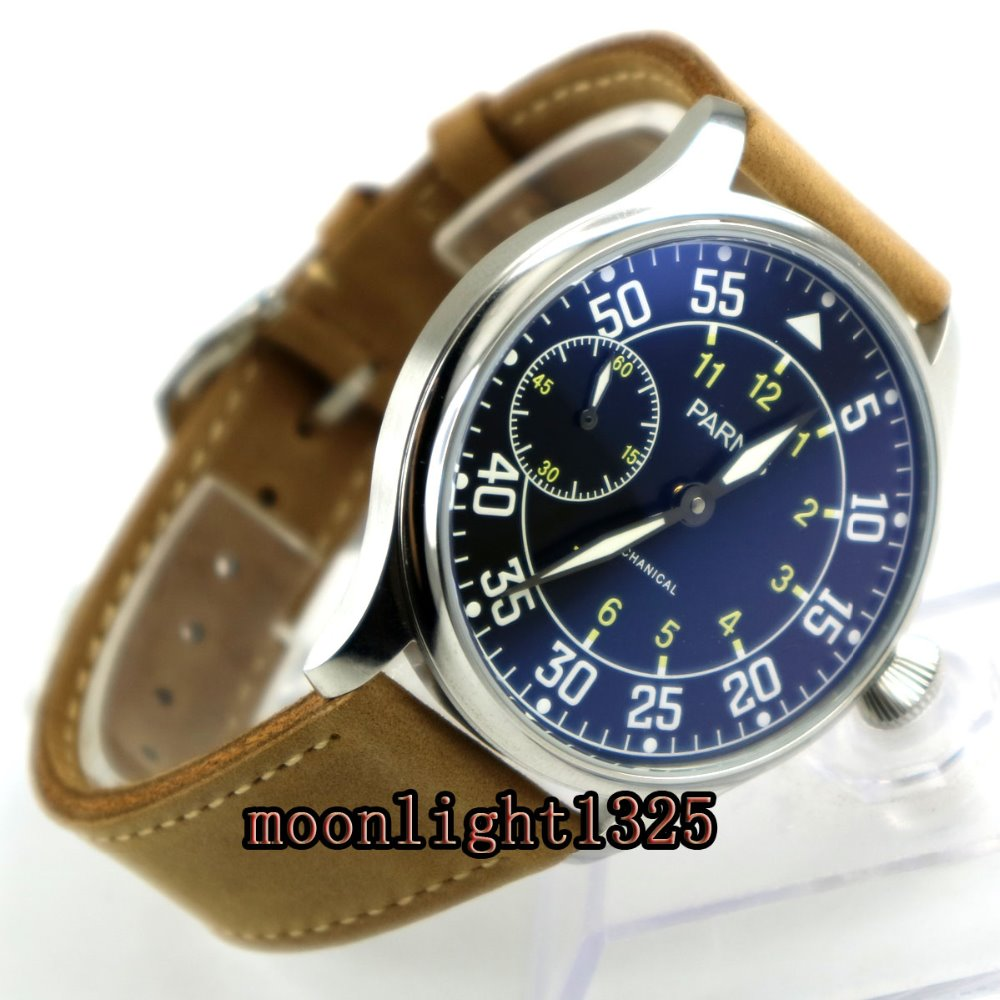 new arrive 44mm parnis black dial super luminous ST3600 Stainless Steel Case hand winding 6497 mechanical mens watch