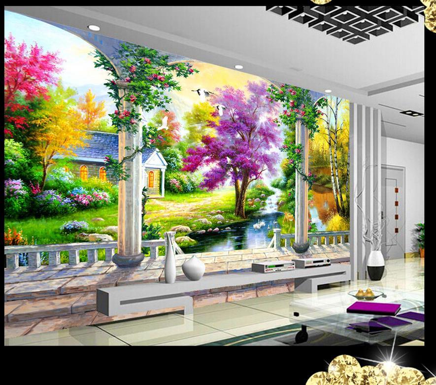 Custom 3d pintura wallpaper paisaje papel de parede 3d - Paisajes infantiles para decorar paredes ...