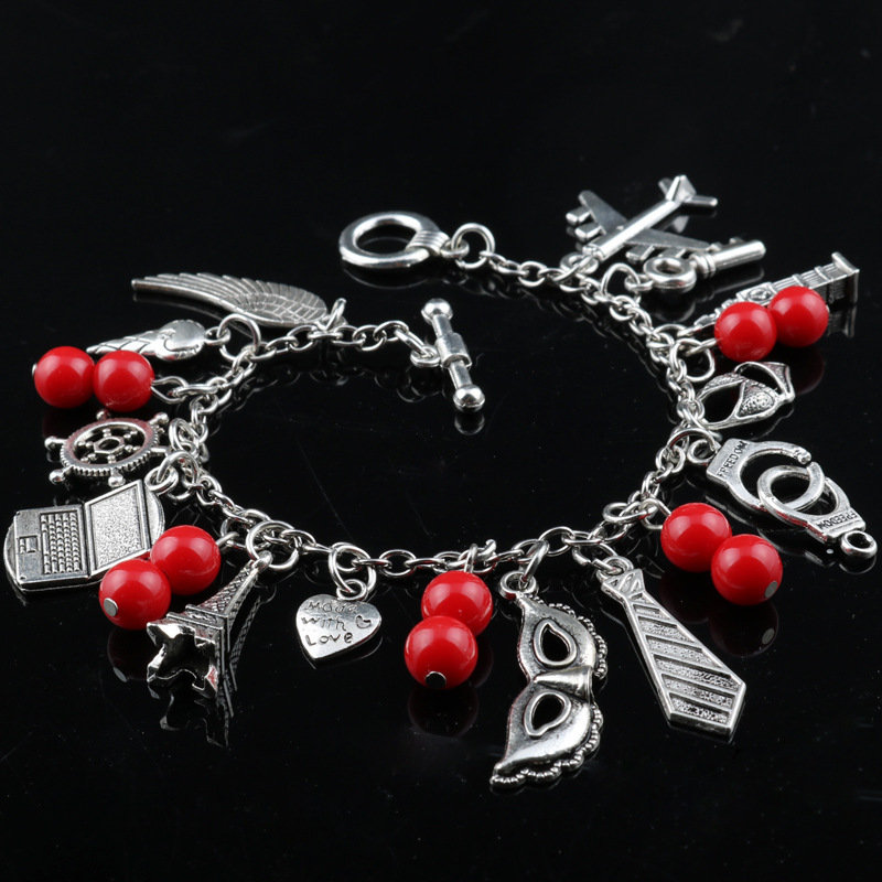 Wholesale Movie Jewelry Women Fashion Gift Charm Bracelet Fifty Shades of Grey Inspired 50 Shades charms Tie Handcuffs Bracelets