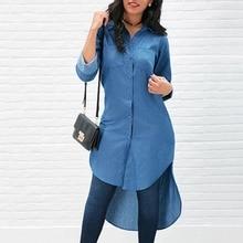 Denim Women Loose Long Sleeve T Shirt Buttons Pockets Casual European and American Style Turn-down Collar Irregular Long T-Shirt