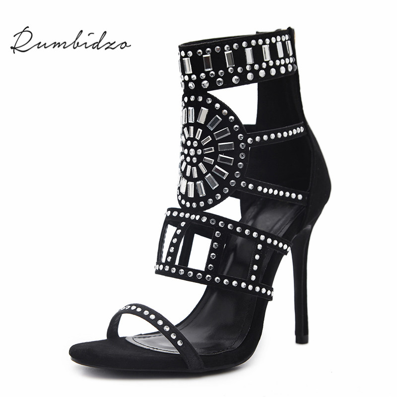 Rumbidzo Women Pumps 2018 Sping Summer Peep Toe High Heels Hollow Gladiator Thin Heel Rhinestone Crystal Party Shoes Woman